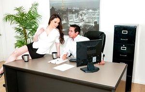 Skirt wearing secretary Tessa Lane gets on desk to seduce her boss