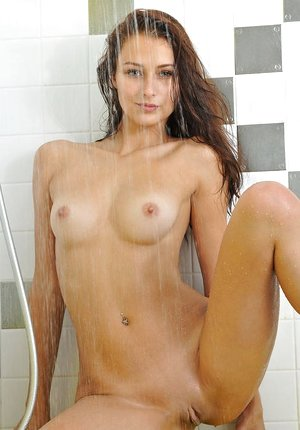Black-haired solo girl Yarina A flaunting tiny breasts in shower