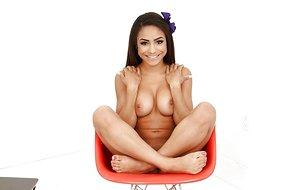 Tiny ebony teenage Nicole Bexley baring big all-natural tits and tight azz