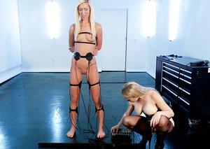 Platinum-blonde females Aiden Starr & Maia Davis break out EMS pads during lezdom play
