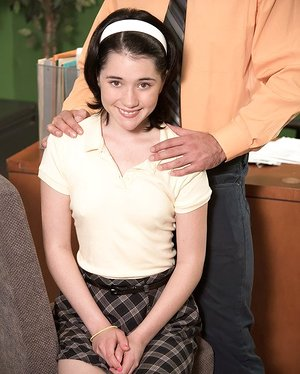 Tiny student Cadence Carter lets an old teacher pound her tight little cunt
