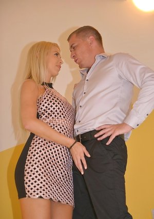 Hot blonde Karol Lilien ball licking & sucking POV with her big tits naked