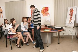 Naughty teen girls undress a male classmate and fuck his dick