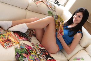 Dark haired amateur Catie Minx strips glasses and red panty in white socks