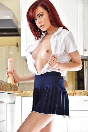 Youthful schoolgirl Sabina2 fingering in uniform & toying with dildo in socks