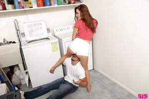 Hardcore slut Nina Nirvana gets banged by the repair guy in the laundry room