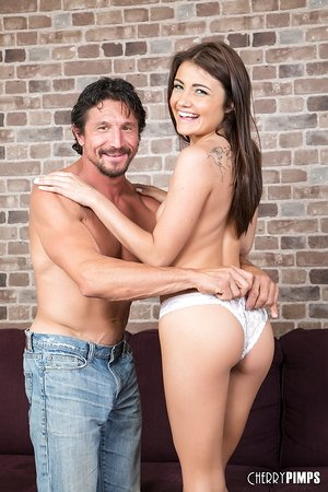 Adria Rae seems more than pleased to flip this large manstick in her tiny holes