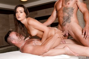 Brunette slut Anina Silk gets a deep DP and show off her spunk covered pussy