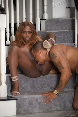 Hot ebony babe Noemie Bilas gets her caramel pussy eaten out and dicked