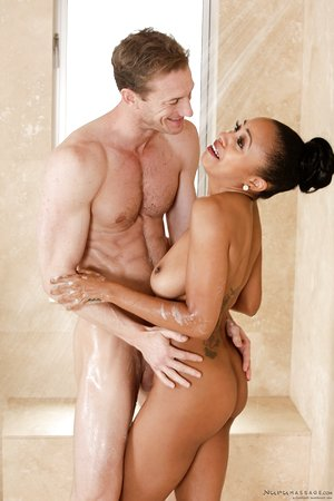 Tennis player showers with Anya Ivy before she gives him a nuru massage