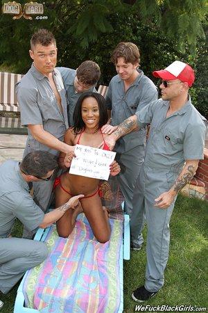 Petite ebony chick Ashley Pink gets gangbanged by white guys in the backyard
