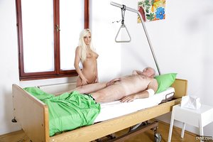 Sexy blonde teen nurses her old lover back to health with a blowjob