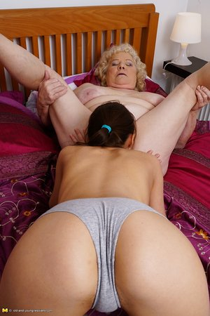 Yam-sized granny loves a a pussy licking from her young lesbian companion