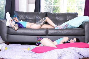 Tattooed girls Holly Beth & Lydia Black keep their socks on during a 3some