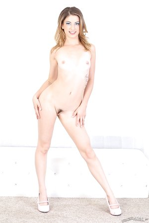 Cute solo girl Kristen Scott flaunts her trimmed thicket after disrobing naked