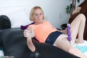 Tiny young Alyssa Hart toys honeypot with vibrator giving giant big cock handjob