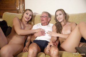 Old man with glasses smashes two beautiful young chicks Lullu Love and Haley Hil