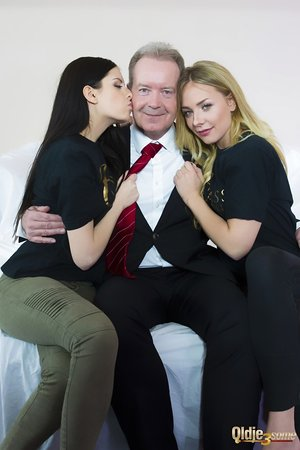 Teen girls Angie Lee and Rebecca Volpetti have a threesome with an old fellow