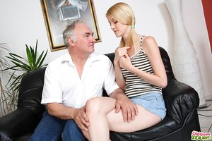 Young towheaded girl fucks a really old man as a favor to indebted boyfriend
