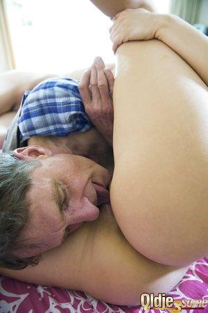 Playful girls Katy Sky and Merri Heys surprise old man Patrik with hot FFM