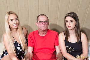 Old man attempts to please two energetic teens Briana Bounce and Gabriella
