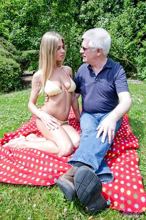 Young blonde female brings an old man back to life by fucking him on a blanket