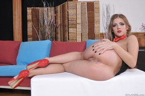 Teen Casey Donal in fishnet top and red panties scored in bottom