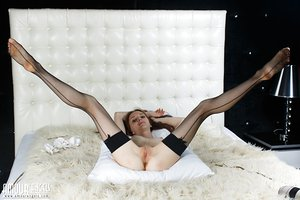 Very skinny Lapa bends over in fishnet stockings & spreads to show her pussy