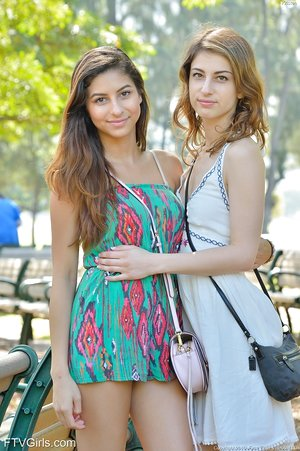 Beautiful teenage girls flash their twats in public before going knuckle deep at home