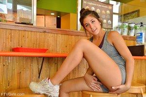 Wonderful teen Natalie enjoys pleasing herself in public