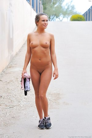 Brunette sports girl jogging topless and flashing her bald twat in public