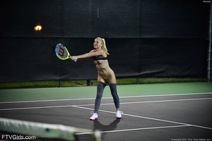 Exy blonde opens up beaver lips closeup & plays tennis with torrid ass & tits naked