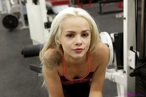 Tiny blonde girl Elsa Jean gets pummeled at the gym by her trainer