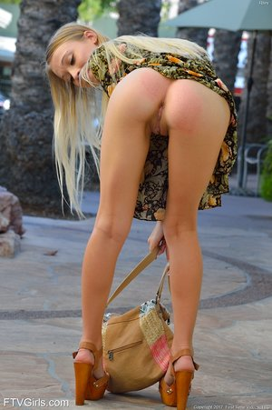 Teen girl Riley walks down a highway in the nude before heading home