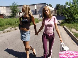Hot teen girls in yoga trousers and skirt teasing with their steamy bodies in public