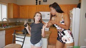 Teenage girls Karlie Brooks & Luzbel go full on dyke in the kitchen