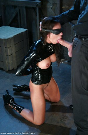 Busty Trixie Cas in spandex spanked for spitting out cum in forced deepthroat