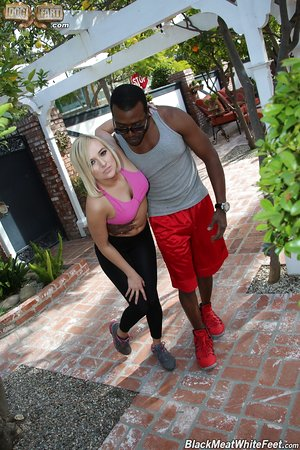 Blonde girl injuries herself and her individual trainer fixes her with his BBC