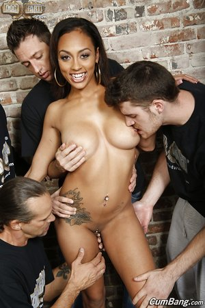 Beautiful black with exotic tits Cherry Hilson participating in a gangbang