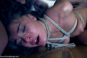 Russian teen Roxy Bell gets tied and gangbanged on her 18th birthday