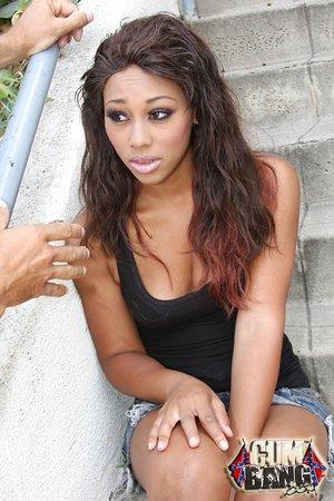 Ebony female Leilani Leeane wears fishnets while sucking off some dudes