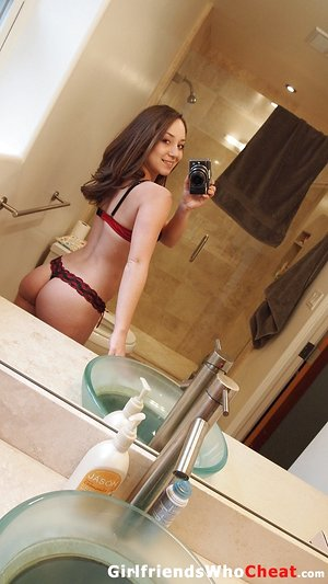 Fledgling solo damsel takes nude selfies in and out of the house