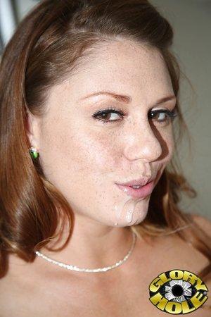 White American slut Scarlett Wild sucks off a BBC at a known gloryhole