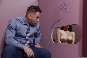 Teen bombshell Noelle Easton and her big naturals spend time at the gloryhole