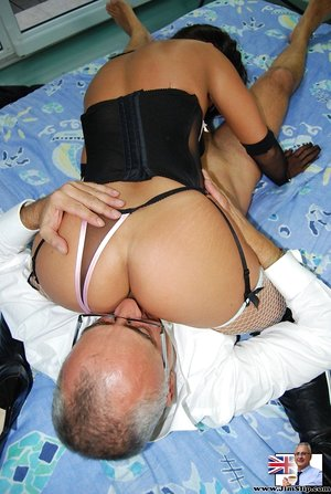 Young brunette female dons slutty attire for her first fuck with an old man
