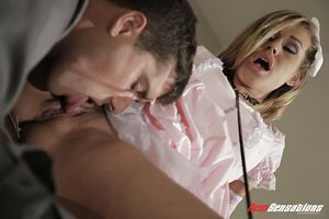 Cute teen doll Kennedy Leigh gets banged in lacey gloves and ruffled dress