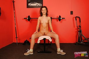 Svelte teen honey with tiny tits slipping off her bikini in the gym