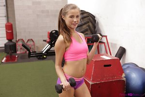 Athletic blonde teenage Carolina Sweets gets banged by her personal trainer