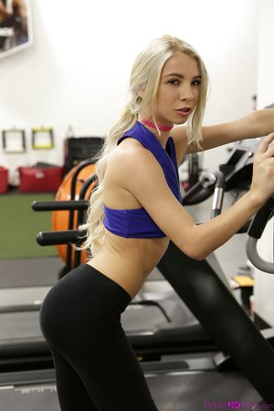 Fit blonde girl Kenzie Reeves bangs a man in the gym after a workout