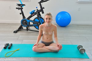 Petite Kenzi unwraps off in the and at the gym to showcase her tiny titties and ass